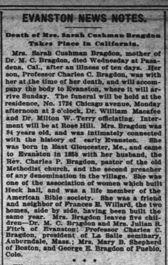 Death of Sarah Cushman Bragdon, The Inter Ocean, Chicago, IL 9 Feb 1900 - EVANSTCr. NEWS-NOTES, NEWS-NOTES, NEWS-NOTES,...