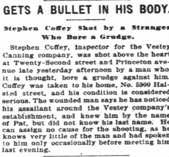 Stephen Coffey Shooting 03111898_ChicagoInterOcean - GETS A BULLET IN HIS BODY. Steahea Confer Skot...