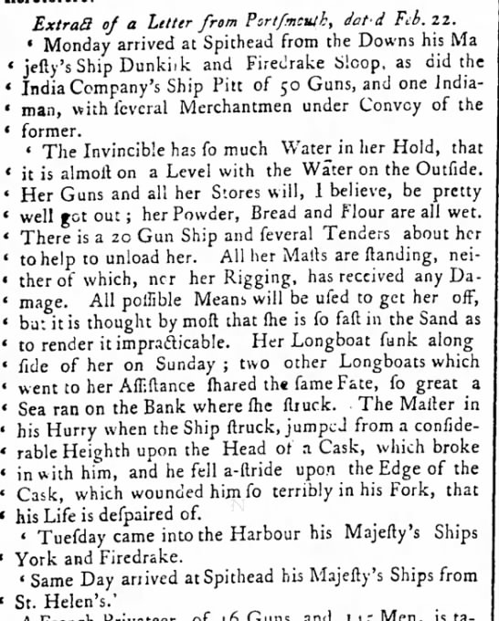 1758 Invincible Accident and salvage work - ExtraS of a Letter from Portfmcutk, dat'd Fib....