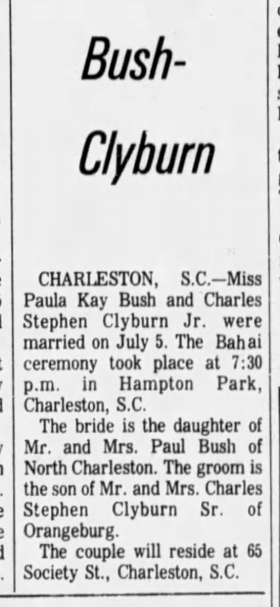 Baha'i wedding of Paula Kay Bush and Charles Stephen Clydburn - Bush-Clyburn Bush-Clyburn Bush-Clyburn...