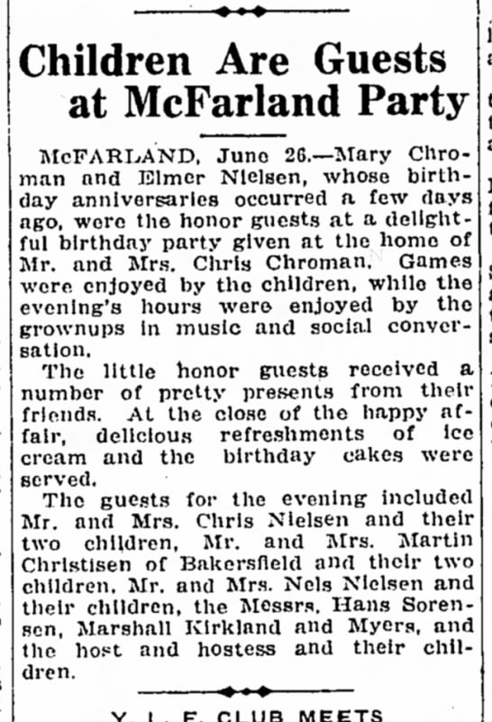 CHROMAN bday party, TBC 6/26/1924 - Children Are Guests at McFarland Party...