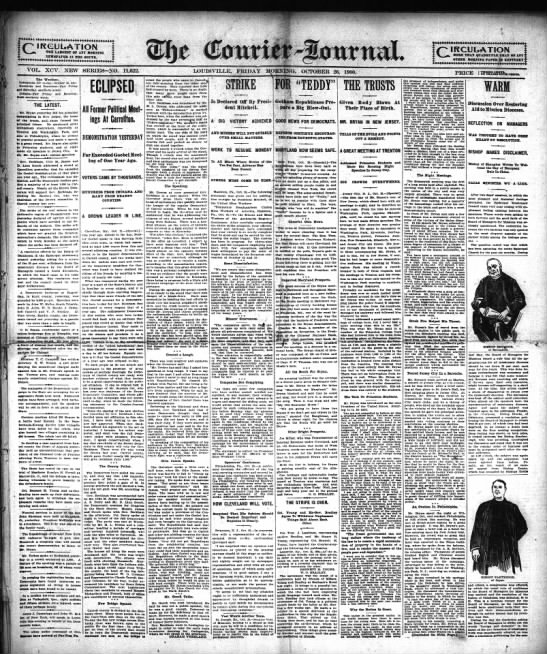 Courier-Journal, 26 Oct 1900, page 1 - I, (CIRCULATION V.. THE LARGEST Of AST HOHXI r-...
