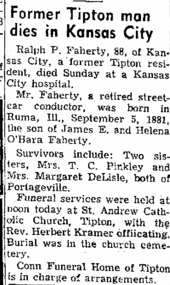 Ralph P Faherty obit 1970 - of noon today at St. Andrew Catholic Church,...