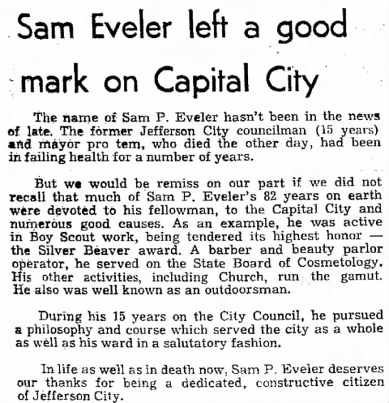 Sam Eveler News artical of death - Sam Eveler left a good mark on Capital City the...