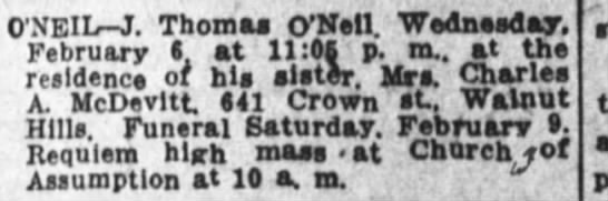 Obit of Brother of Mrs. CJ McDevitt 8Feb1918 See Stanley-Chas A not Chas J See Stanley