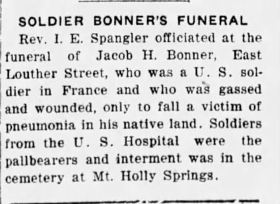 - SOLDIER BONNER'S FUNERAL Rev. I. E. Spangler...