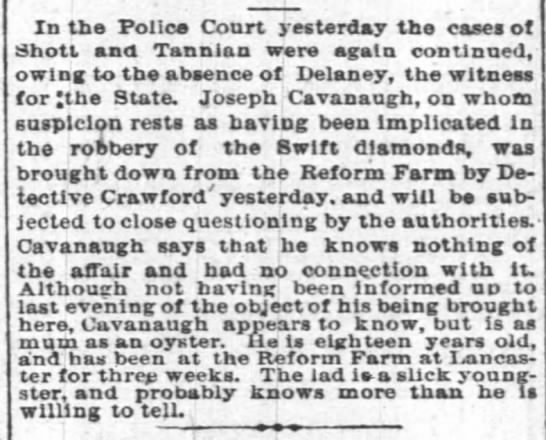 1885 may 14 cavanaugh, joseph - In the Police Court yesterday the cases ot...