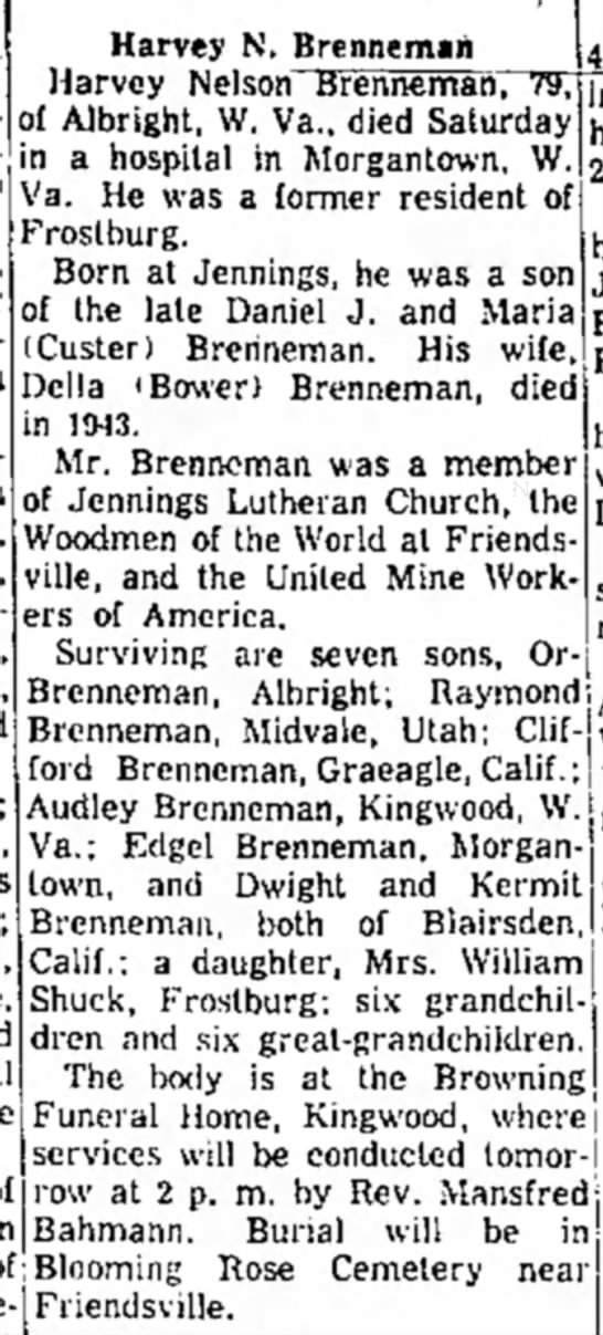 Harvey Brenneman obituary2 - n a hospital ir Va. He was a FYoslburg. Born at...