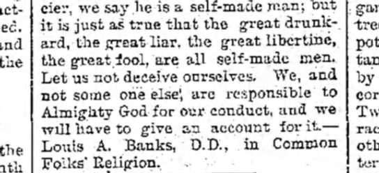 Louis A Banks, D.D. - and the the financier, we say.he is a self-made...