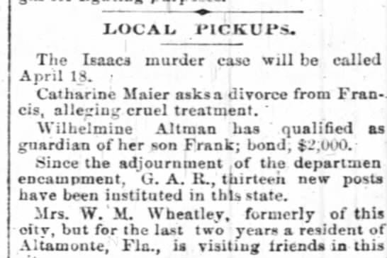 - LOCAL 1'ICKUI's. The Isaacs murder case will be...