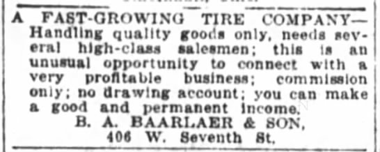 1922 dec 10 baarlaer's tire company - A FAST-GROWING TIRE COMPANY Handling quality...