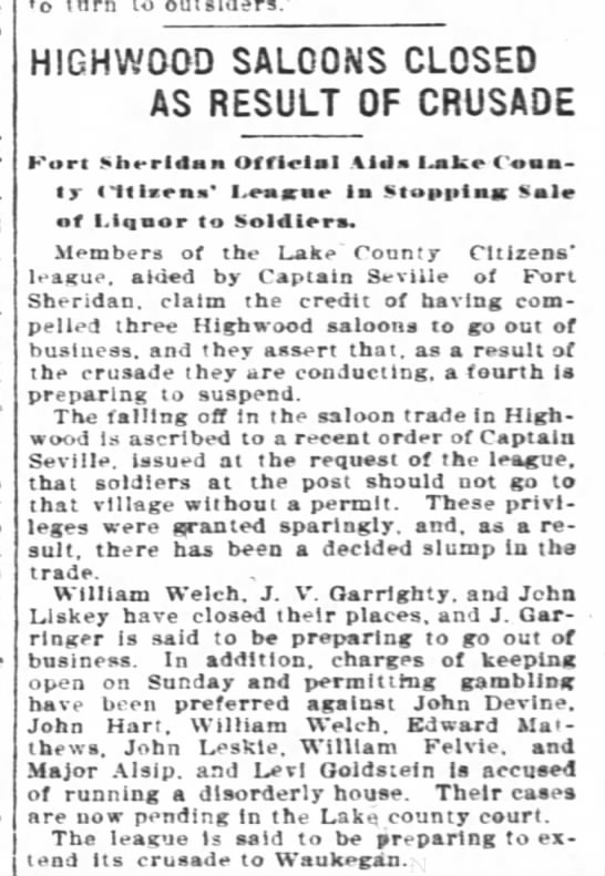 William J Welch - o torn to HIGHWOOD SALOONS CLOSED AS RESULT OF...