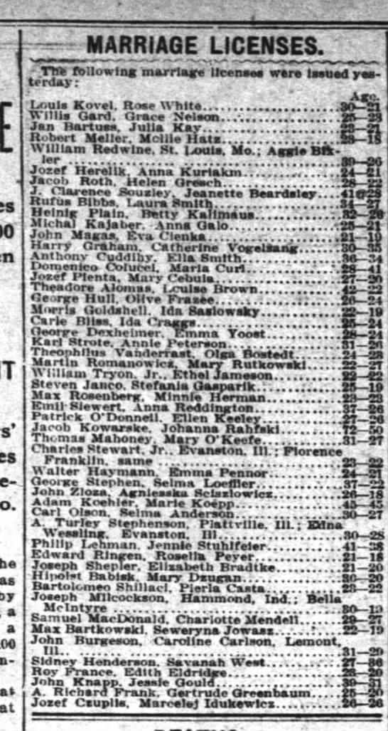 Karl Strote Marrage 1908 - ; De-J De-J by a a 100 - MARRIAGE LICENSES....