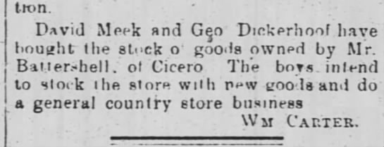 David Meek store 1884 mar 15 - Iron. David Meek and Geo Dickerhoof have bouaht...