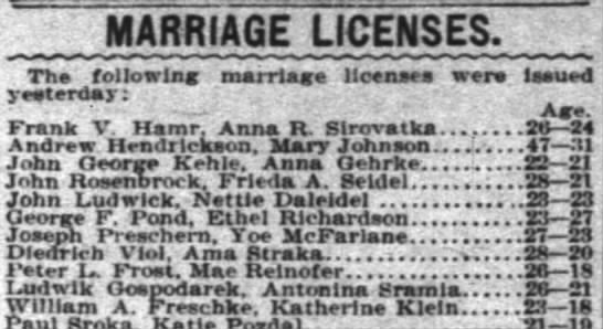 Marriage License for John Rosenbrock and Frieda Seidel