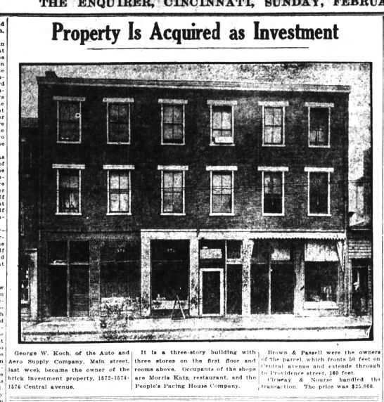 1923 feb 11 koch, george auto and aero property - THE ENQUIRER, ! SUNDAY, In fln-tshedthlrd, of...