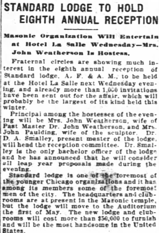 Mts. John Weatherson; The The Inter Oceqn (Chicago, Illinois; 26 Feb 1912 - STANDARD LODGE TO HOLD EIGHTH ANNUAL RECEPTION...
