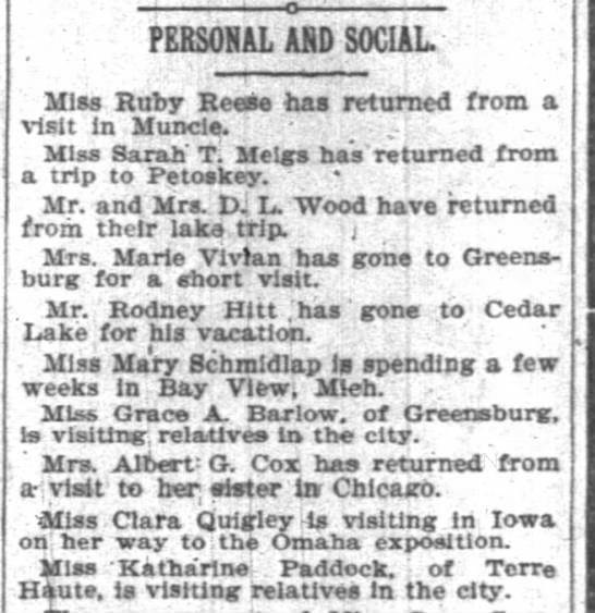 Clara Quigley 8 Aug 1898 Indy News - PERSONAL ASD SOCIAL Miss Ruby Reese has...