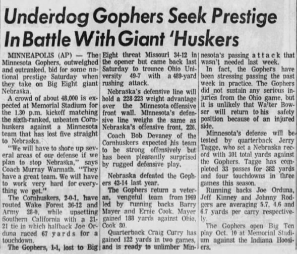 1970.10 Minnesota-Nebraska AP preview