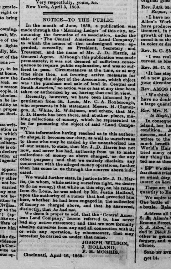 Central American Land Co disclaimer 1860 - gentlemen eight or to bring Downing, Mr. of the...
