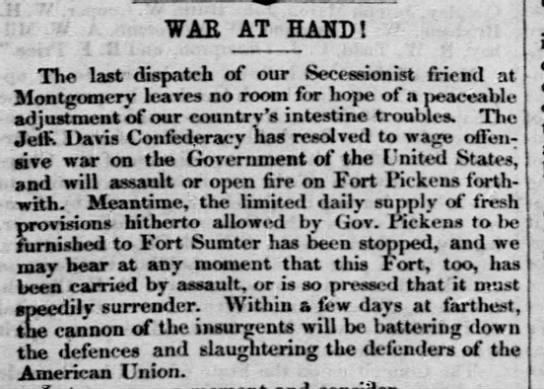 Civil War start, The Liberator, Boston MA April 12, 1861 part 1 - WAS AT HAND ! The last dispatch of our...