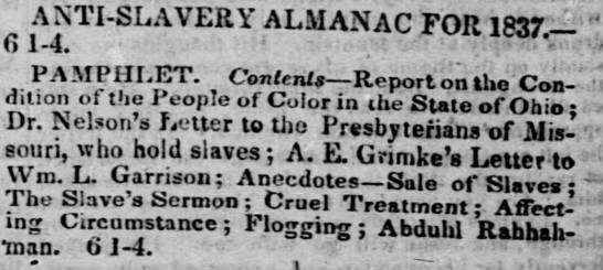 reference to Grimke pamphlet - ANTI-SLAVERY ANTI-SLAVERY ANTI-SLAVERY ALMANAC...