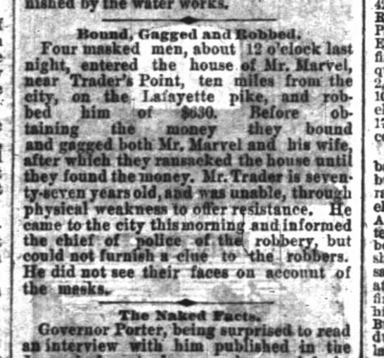 Robbery of Robert Marvel Indianapolis News Tuesday July 26, 1881 - . by the water w i' - Bnad, Crnggtii and...