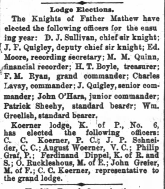 James f and J Quigley Knights 27 Dec 1881 Indy News - Irftdg Elections. The , Knights of Father...