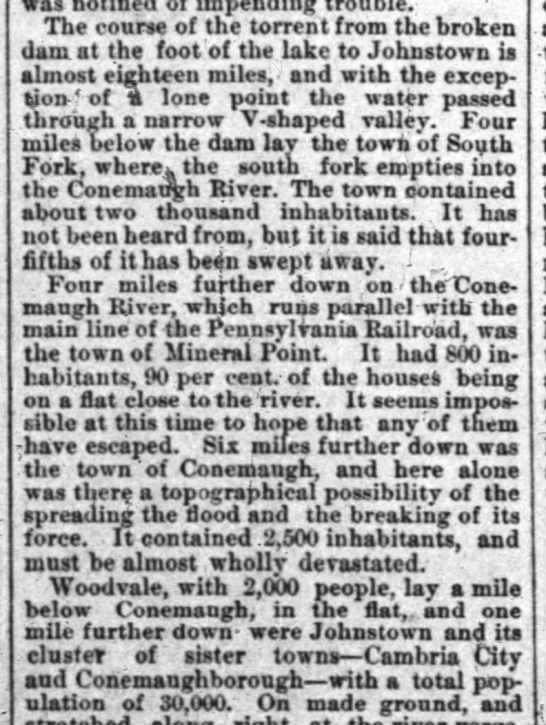 Smaller towns between Lake Conemaugh and Johnstown - was impending The course of the torrent from...