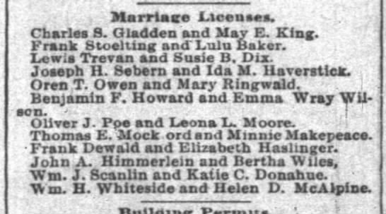 - Marriage Licenses. Charles 8. Gladden and May...