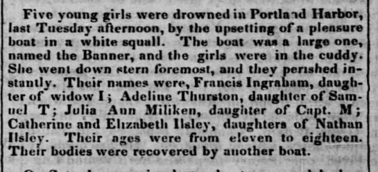 - Five young girls were drowned in Portland...