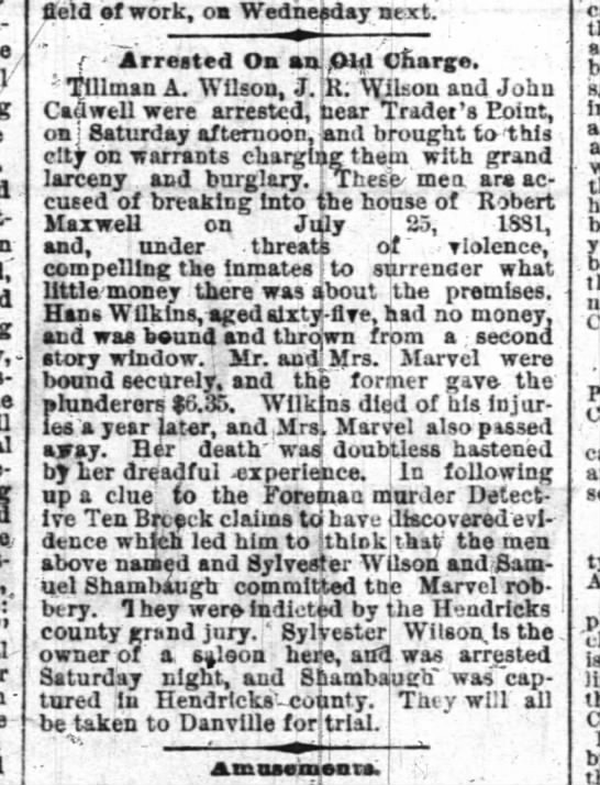 Arrest on an Old Charge - Marvel Robbery - Indianapolis news March 31, 1884 - m-mKtee. itans- epokea- field ef work, oa...