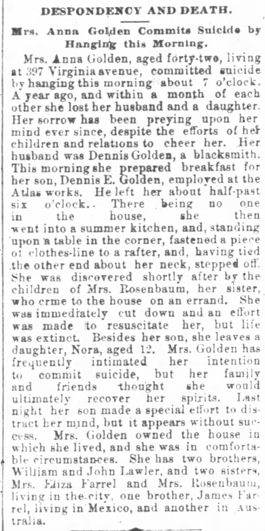 Mrs Golden - DESPONDENCY AND DEATH. Mrs. Anna Golden Commits...