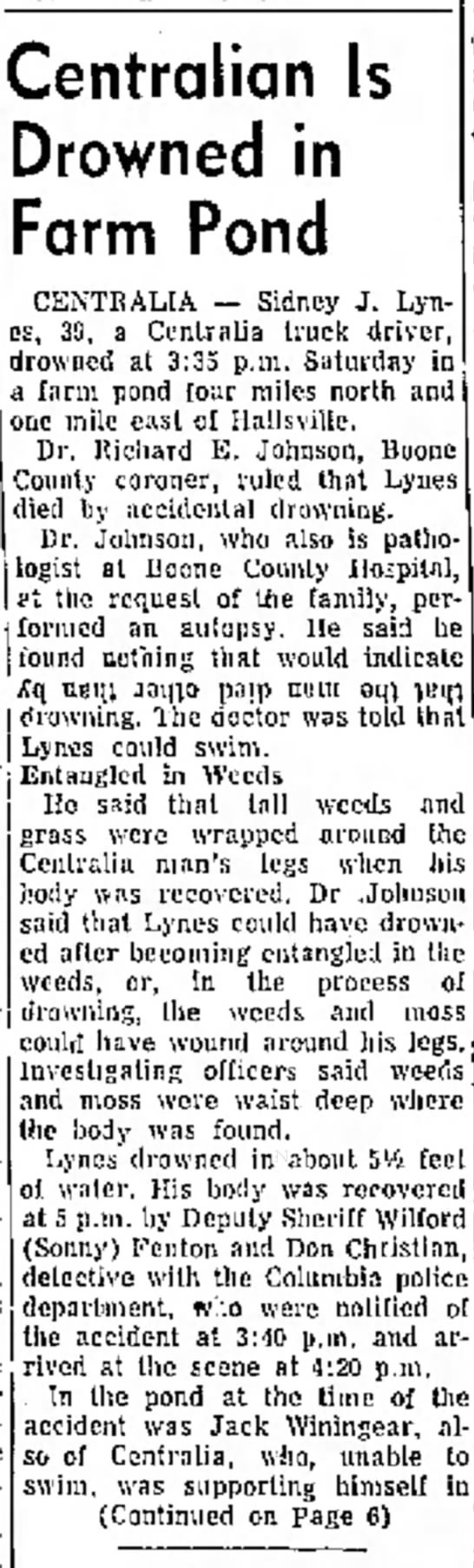 Sidney J Lynes Jr. newspaper article about death - Brown, with Herschei Everett Mrs. W. R, Newby,...