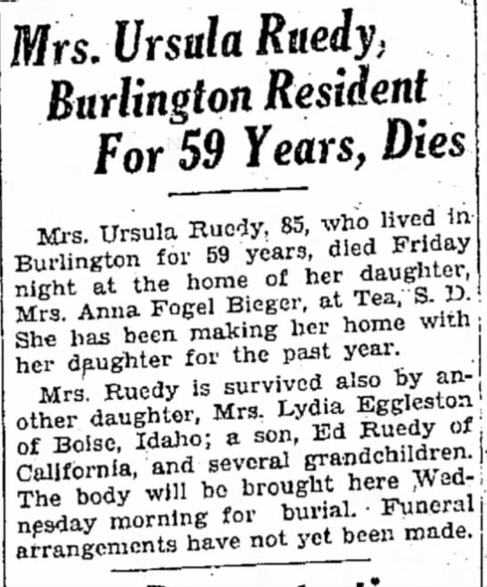 - Mrs. Ursula Ruedy. Burlington Resident For 59...