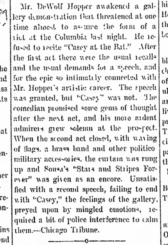 "Hopper refuses to recite ""Casey"" - from Chicago Tribune, in the Fort Wayne News 27 Jan 1898 p.3 - the and class at be enjoyed York. a tre- iir...."