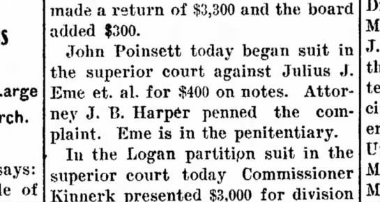 John Poinsett sues Julius J Eme for $400.