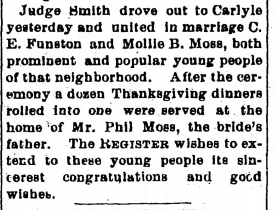 Phillip Moss - Judge Smith drove out to Carlyle yesterday and...