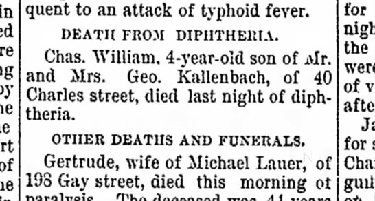 Death of Chas. William Kallenbach, 1895 - begin There by to the part of subsequent to an...