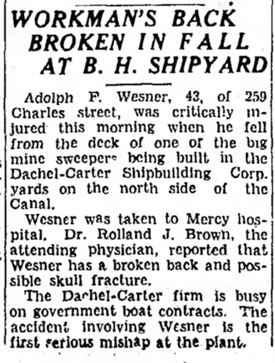 Adolph Wesner Accident - 1942 SANITARY WORKMAWS~BACK BROKEN IN FALL AT...