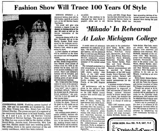 Fashion show with Dorothy VanDeventer's wedding dress (Kirby) - Fashion Show Will Trace 100 Years Of Style...