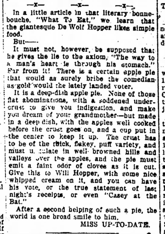 Hopper & Apple Pie--The Fort Wayne News 3 Oct 1896 - _jt_ _i_ _ Ir ^ In a little article In that...