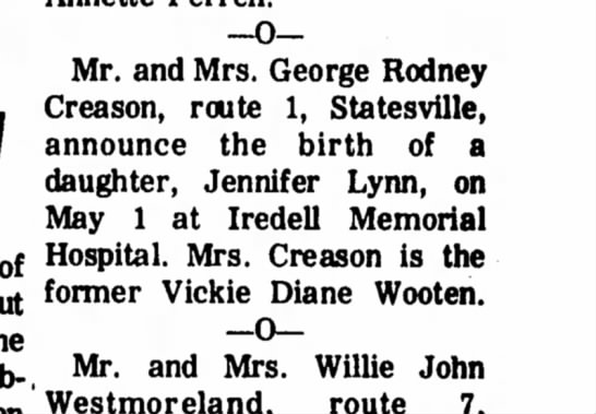 - Mr. and Mrs. George Rodney Creason, route 1,...