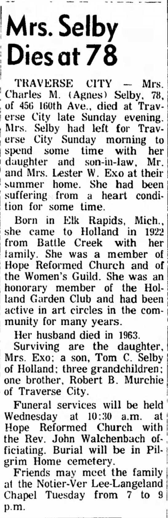 Agnes E (Murchie) Selby 28 Jun 1965 pg 6 Monday - j He | I ' I l l ! J 9. j Mrs. Selby Dies at 78...