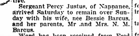 Twiggy Announcement in paper - Sergeant Percy Justus, of Xappanee, derived...