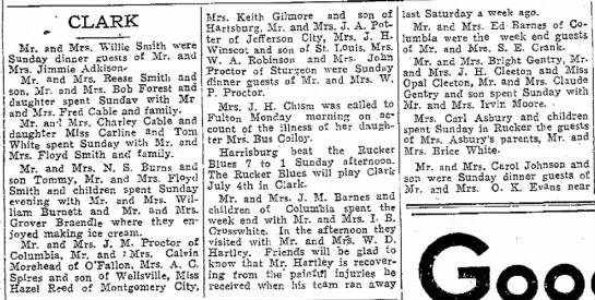 Mr W D Hartley is recovering from injuries Jun1931 - the Co. Macon. numbers 'expects Included '...
