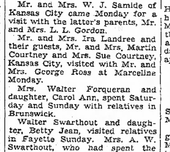Visit to Great Aunt Kate - to walls to 16 Mr. and Mrs. W. J. Samide of * ,...