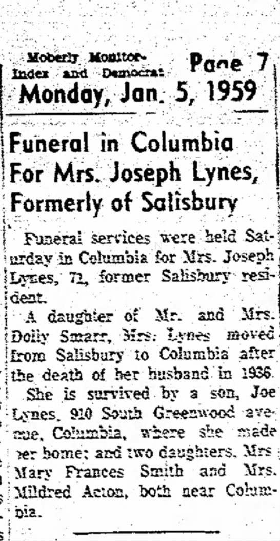"Mrs. Joseph Lynes newspaper notice of her burial - **« ·** D««* ·""""* Oaths ^^l 0 ?- 5 - 195..."