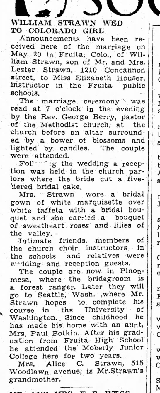 William Strawn Elizabeth Houser marriage - Moberly Monitor-Index 30 May 1939 p3