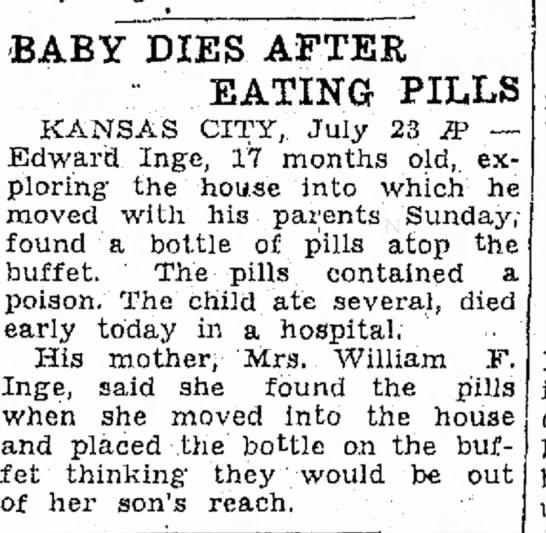 - When BABY DIES AFTER - EATING PILLS KANSAS...